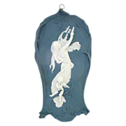Wonderful Jasperware Jasper Ware Art Nouveau Plaque with Woman, Lyre, Cherub Playing Violin