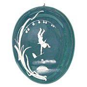 SALE Unusual Pate Sur Pate Style Plaque - Angel and Lily of the Valley