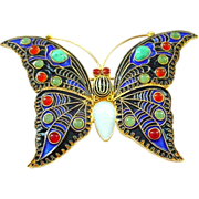 SALE Dazzling Jewelled Enamel on Gold Washed Sterling Silver Large Butterfly Pin