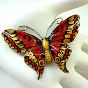 Large JA&S John Atkins & Sons Enamel on Sterling Silver Butterfly Pin Brooch