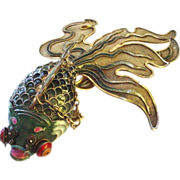 "SALE Our BEST EVER Chinese Silver Enamel Giant 7"" Articulated Fancy Googly Eye Goldfish o"