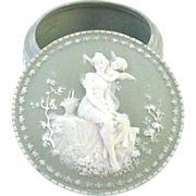 Larger Jasperware Jasper Ware Box with Cupid Angel and Beautiful Woman