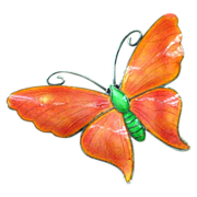 SALE Large John Atkins & Sons Angel Wing Butterfly Pin - Melon Color - Enamel on Sterling Silv