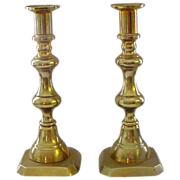 Antique Solid Brass Push Up Candlesticks 9""