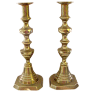 "Antique Tall 11"" Brass Beehive Pushup Candlesticks"