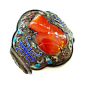 Huge Chinese Enamel Sterling Silver Cloisonne and Hardstone Cuff Bracelet - Buddha