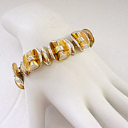 SALE Chunky Modernist Gold Wash Sterling Silver Bracelet