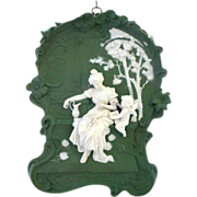 Very Large and Fabulous Volkstedt Plaque of Cupid Angel Woman Reading Letter - Excellent ...