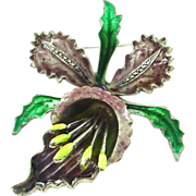SALE Beautiful Enamel on Silver Orchid Pin Brooch