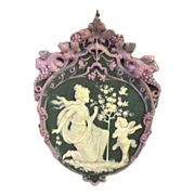 SOLD Tricolor German Jasperware Jasper Ware Plaque with Serenading Angel