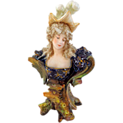 Teplitz Miniature Art Nouveau Bust of Woman