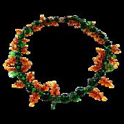 Vintage Czech Glass Grape Vine Necklace