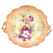 Handpainted Fuschia Flowers on Antique Bavaria Plate
