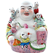SALE Vintage Chinese Laughing Buddha with Children - Happy Symbolism