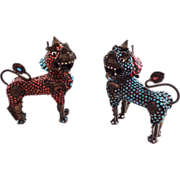 Coral and Turquoise Encrusted Foo Dog or Temple Lion One of Pair Incense Burner Box
