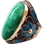REDUCED Large Chinese Jade and Sterling Silver Adjustable Ring - Large Stone and Large Size