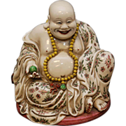 SALE Chinese Porcelain Happy Buddha Hotei  - Large and Pretty!