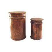 SALE Two Treen Wooden Cylinder Boxes - Nesting - Large