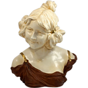 Large and  Very Beautiful Rudolstadt Art Nouveau Lady Bust from Germany