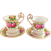 SALE Stunning PAIR of Antique Dresden Cups and Saucers with Handpainted Roses