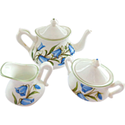 Crown Staffordshire Miniature Teapot with Creamer and Sugar