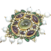SOLD Rare Antique Edwardian 9K Pin or Brooch or Pendant Suffragette Colors