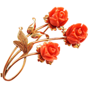 SALE Fabulous 18K Rose Gold and Coral Pin Brooch