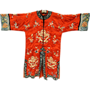 REDUCED Our BEST EVER Antique Chinese Embroidered Silk Court Robe with Imperial Dragons
