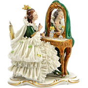 Dresden Lace Figure of Woman at Vanity Mirror by Ackermann & Fritz