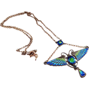 SALE Sterling Enamel Arts and Crafts Scarab Necklace