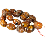 """SALE Rare Carved AMBER Figural Face Beads Buddha Prayer 26"""" Necklace"""
