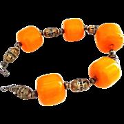 Large Egg Yolk Amber Beads Choker Necklace