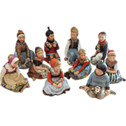 EXTREMELY RARE Full Set of 10 Royal Copenhagen Overglaze Polychrome Children of the Provinces