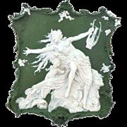 Splendid Large Volkstedt Jasper Ware Jasperware Plaque Beautiful Semi-nude Siren and Angel