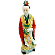 Antique Polychrome Chinese Porcelain Figure of a Scholar
