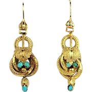 Antique 15K Gold Etruscan Revival Dangle Drop Earrings with Turquoise