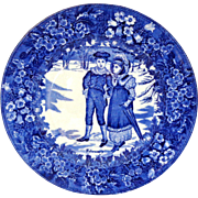 Antique Wedgwood Month of February Flow Blue Plate