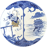 "Massive 18 1/4"" Antique Chinese Signed Charger with Parrot in Blue and White"