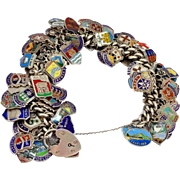 SALE PENDING 93 Fully Loaded Enamel on Silver Travel Charms on Sterling Silver Bracelet 156 GM