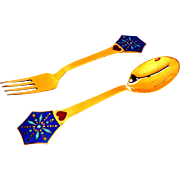 SOLD 1976 Michelsen Sterling Silver and Enamel Denmark Christmas Spoon AND Fork Set