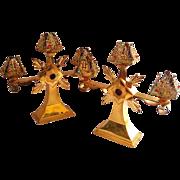 Pair of Ecclesiastical Jeweled Gilt Brass Candelabra