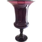 Tall Amethyst Hand Blown Glass Vase with Wide Mouth