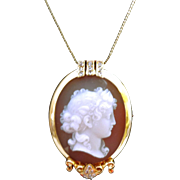 Antique Gold and DIAMOND Hardstone Cameo Pendant or Pin - Our BEST EVER!!