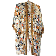SOLD 100% Silk Vintage Japanese Robe with Birds - One Size Fits Most