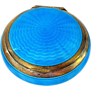 Gorgeous Bright Blue Enamel on Sterling Compact with Puff