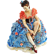 """SALE Dresden Lace Seated Ballerina - Large 7 3/4"""""""