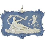 EXTRAORDINARY Blue and White Volkstedt Jasper Ware Plaque with Semi-nude and Angels