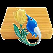 David Andersen Enamel on Sterling HUMMINGBIRD Pin