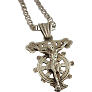 Sterling Silver Mariner's Crucifix Cross Pendant with Large Bail and Great Chain Included
