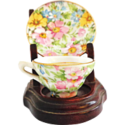 SOLD Miniature Rosina Chintz Cup and Saucer with Miniature Stand
